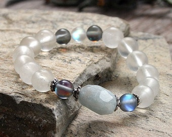Beautiful frosted quartz gemstone wrist mala bracelet