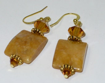 Butterscotch agate and crystal earrings.