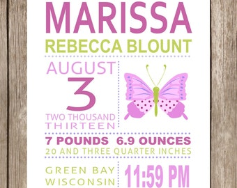PRINTED Marissa Butterfly Subway Art Print Printed and Shipped