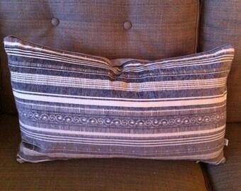 Single Designer 13 x 23 Inch Pillow Cover-Gray Velvet  Design-Solid Velvet Back-Accent Kidney Pillow-Free Shipping.