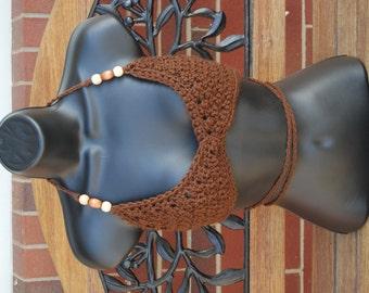Beaded Brown Hippie Crochet  Bikini Halter Festival Top