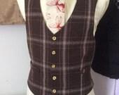 Mens wool plaid check brown beige single breasted waistcoat vest 36-38 R