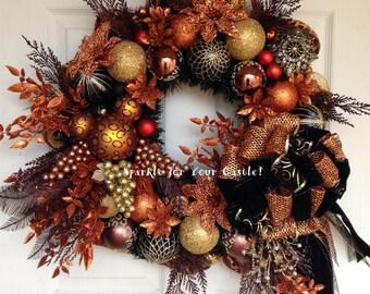 Leopard Wreath, Christmas Wreath, Mickey Mouse Leopard Wreath