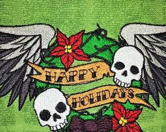 "Happy Holiday Skulls Green Dish Towel  15"" x 24"""