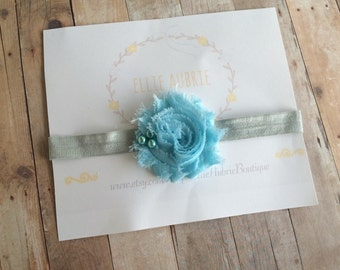 Blue flower headband, baby headband, blue headband