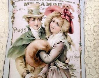 FRENCH Couple Pillow, French Script,  Pink ROSES, Paris Decor  #C74