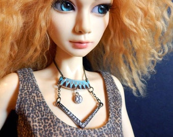 bjd doll necklace - Modern Boho - statement jewelry for ball joint dolls, SD, larger fashion dolls