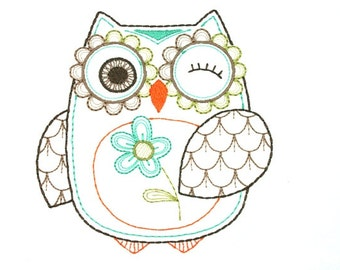 Friendly Owls 04 Embroidered Quilt Block