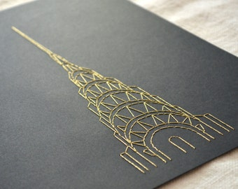 Chrysler Building Wall Art Embroidery on Paper - Gold on Black