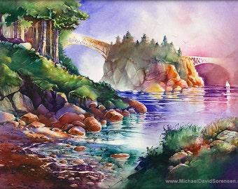 Bridges of Deception Pass State Park, Washington Watercolor Art Print. Sailboat. Puget Sound. Pacific Northwest Watercolor Painting Print.