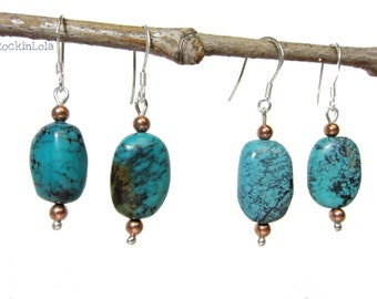 genuine turquoise earrings with pure copper beads - sterling silver ear hooks - handmade by RockinLola