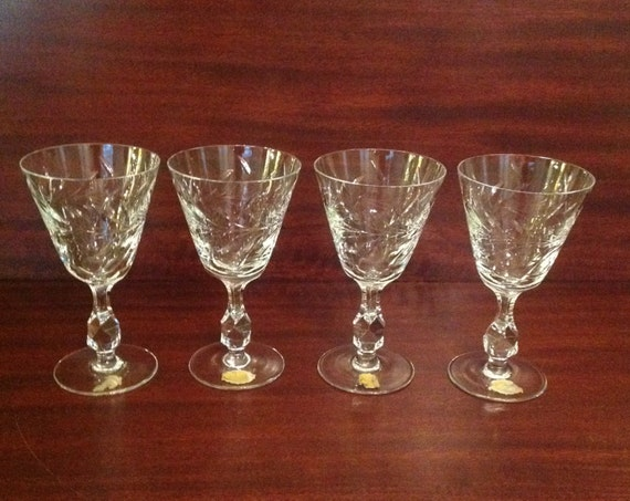 lead crystal cut glass wine glasses goblets stemware set of 4
