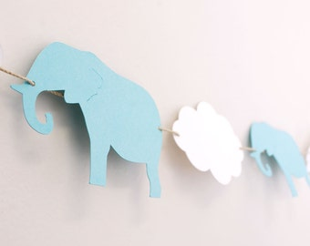 Elephants and Clouds Paper Garland 6 ft.