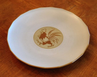Kasuga Showa Stoneware Rooster Plate, Rooster Pottery Plate