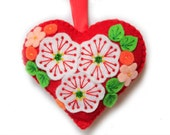 """Valentine's Day Ornament """"Red Heart"""" made out of felt . Decorated with beads. Heart cushion"""