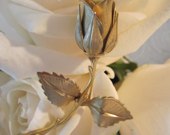 Sculpted Golden-Colored Rose by Giovanni Vintage 1960s