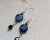 Deep Blue - long dangle earrings with rich blue jasper stone, czech glass beads and silver, handcrafted