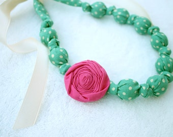 Fabric Necklace,Teething Necklace, Chomping Necklace, Nursing Necklace -Teal Dots with Pink Rose