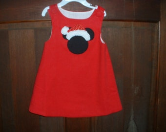 Christmas Red Corduroy Appliqued Jumper--Mouse Ears Santa- Size 12 Months