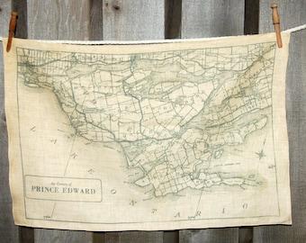 Prince Edward County map tea towel - FREE SHIPPING