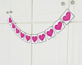 FREE SHIPPING, Wedding hearts decoration, Wedding banner, Engagement party decor, Bachelorette party decor, Bridal shower banner, Hot pink