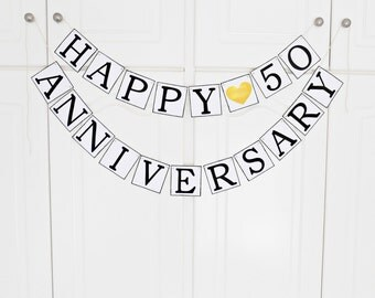 FREE SHIPPING, Happy Anniversary banner, Wedding banner, Any occasion, Wedding anniversary, Anniversary celebration, Birthday banner, Gold