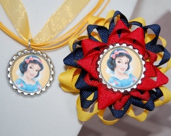 Snow White Bow and Necklace Set