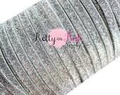 """3/8"""" Silver Glitter Elastic- Elastic  By the Yard- Silver Glitter Elastic- Glitter Elastic- DIY Headbands- DIY Kit- Supply Shop"""