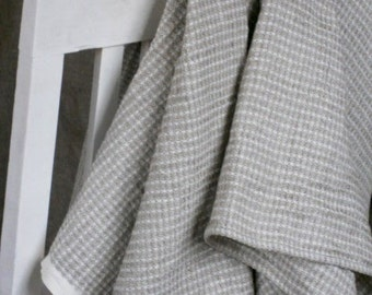 Linen throw blanket natural gray white waffle bedspread reversible pure flax wafer beach blanket