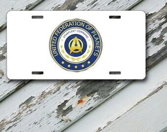 "Star Trek Starfleet Command Insignia on 6"" x 12""  Aluminum License Plate"