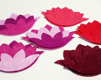 Felt Flowers, 30 Piece - 6 Set, Felt Lotus Flowers, Felt Die Cut Flowers, For Easter Projects