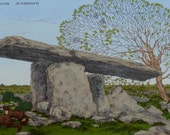 "Celtic Irish Fantasy Art Print Poulnabrone Dolmen Day. 8x11""."