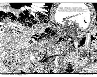 "Celtic Irish Fantasy Art Print NUADA the High King. Line Version. 16x11""."