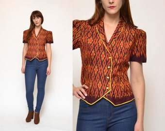 70s IKAT printed asymmetric button up blouse top // short sleeve collared burgundy mustard orange hippie boho SOUTHWEST dress shirt top