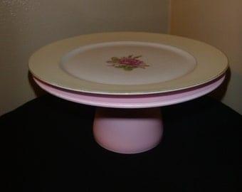 Handmade Pink and White Cake Stand