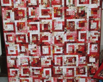 Red and White Generous Single or Queen Topper Bed Quilt