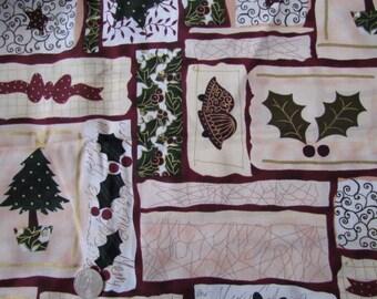 1 yard Christmas Fabric - Burgundy Gold White and Green    destash 215