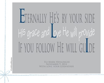 Baptism Gift, Gifts for Boys, 8x10 Paper Print, Eli