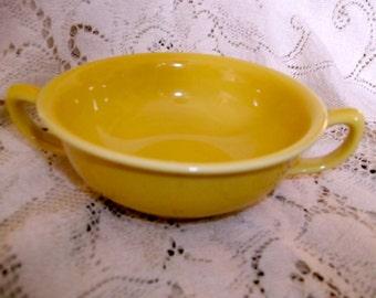 Homer Laughlin Seville Yellow Cream Soup Bowl Handled