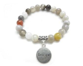 Believe Mala Bracelet Healing Yoga Jewelry Bohemian Inspire Wrist  Mala Agate Meditation Bracelet Christmas Stocking Stuffer Gift Under 30