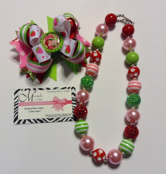 Strawberry shortcake chunky necklace bow and by mirandastyle for Strawberry shortcake necklace jewelry