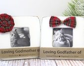 Godmother Godfather Christmas Gift Custom Personalized Burlap Picture Frame (set of 2) Godparents Gift