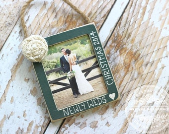 Newlywed Wedding Christmas Ornament Personalized GIFT Rustic Photo Ornament