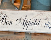 Bon Appetit wooden sign. Hand Painted Decorative wall sign for kitchens and restaurants.