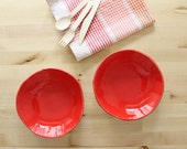 Ceramic plate set Two red plates Wonky handbuild plates Serving Dishes - Ready to ship