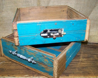Wooden Boxes Reclaimed Wood Boxes Handmade Wooden Boxes Tuquoise Boxes