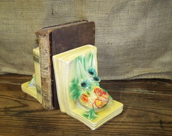 Chalkware Bookends Vintage Flower Bookends Vintage Chalk Ware Book Ends Shabby Bookends