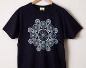 Chain Reaction T Shirt / Cycling T Shirt, Bike Tee, Graphic T Shirt, Screenprint T Shirt, Mens Screenprinted Tee, Navy T Shirt