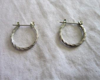 Vintage Silver one Hoop Pierced Earrings
