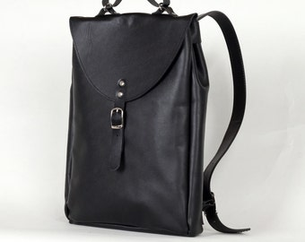 Black small leather backpack rucksack / To order